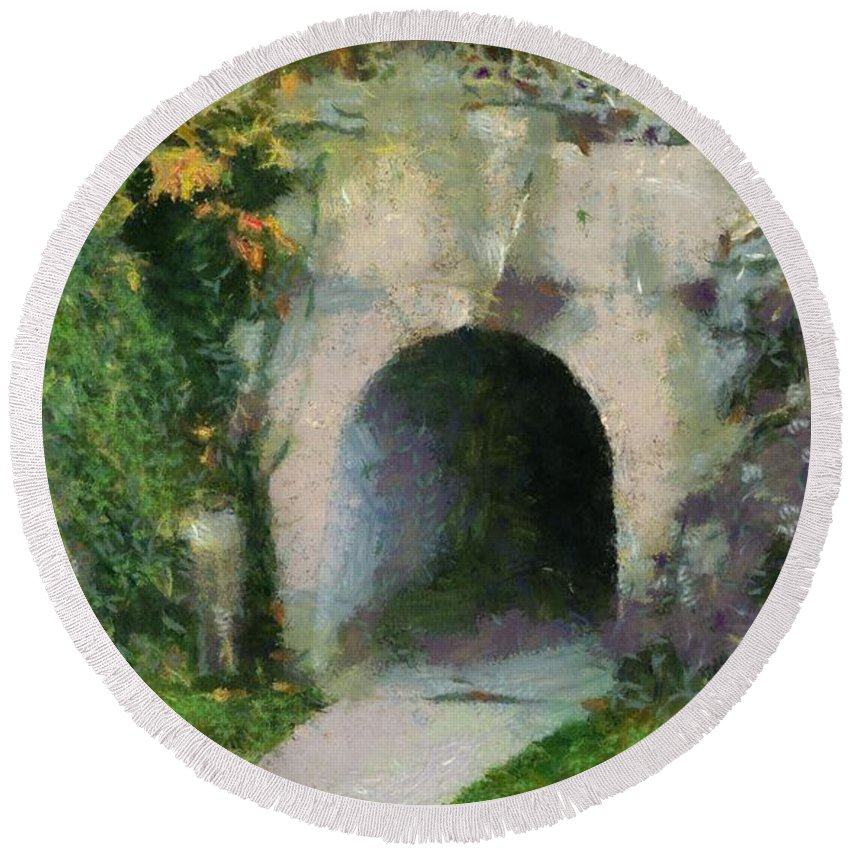 Through The Tunnel Round Beach Towel featuring the painting Through The Tunnel by Dan Sproul