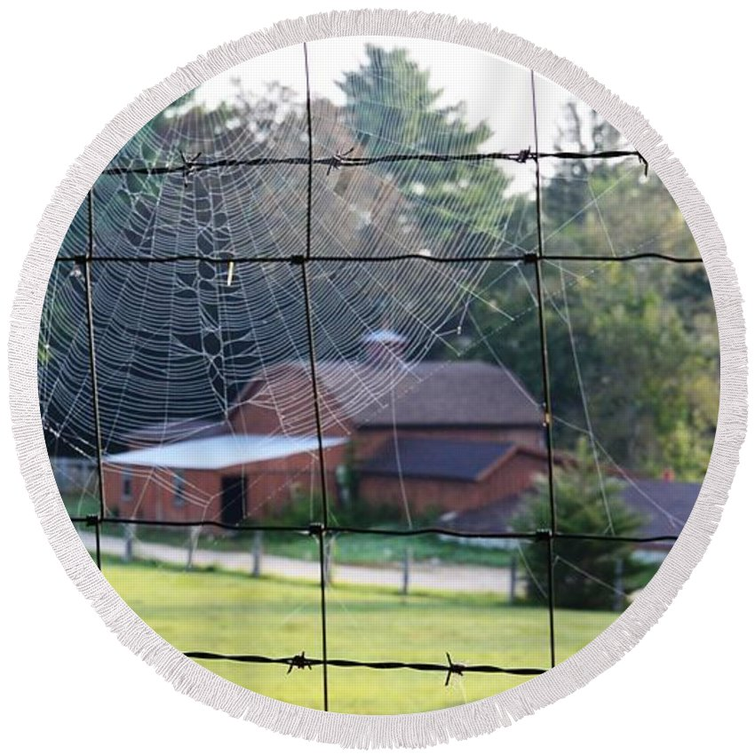 Spider Web Round Beach Towel featuring the photograph Through The Webs by Lisa Kilby