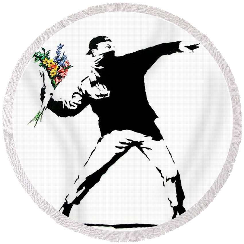 Banksy Round Beach Towel featuring the photograph Throwing Love by Munir Alawi