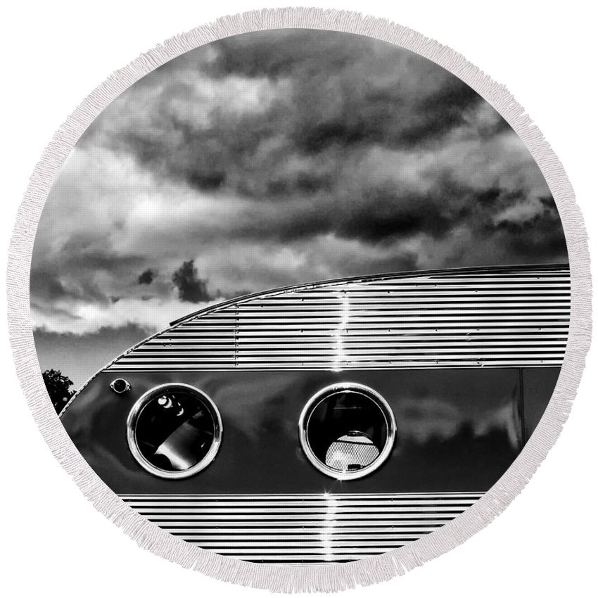 Airstream Round Beach Towel featuring the photograph Thunder And Lightning Palm Springs by William Dey