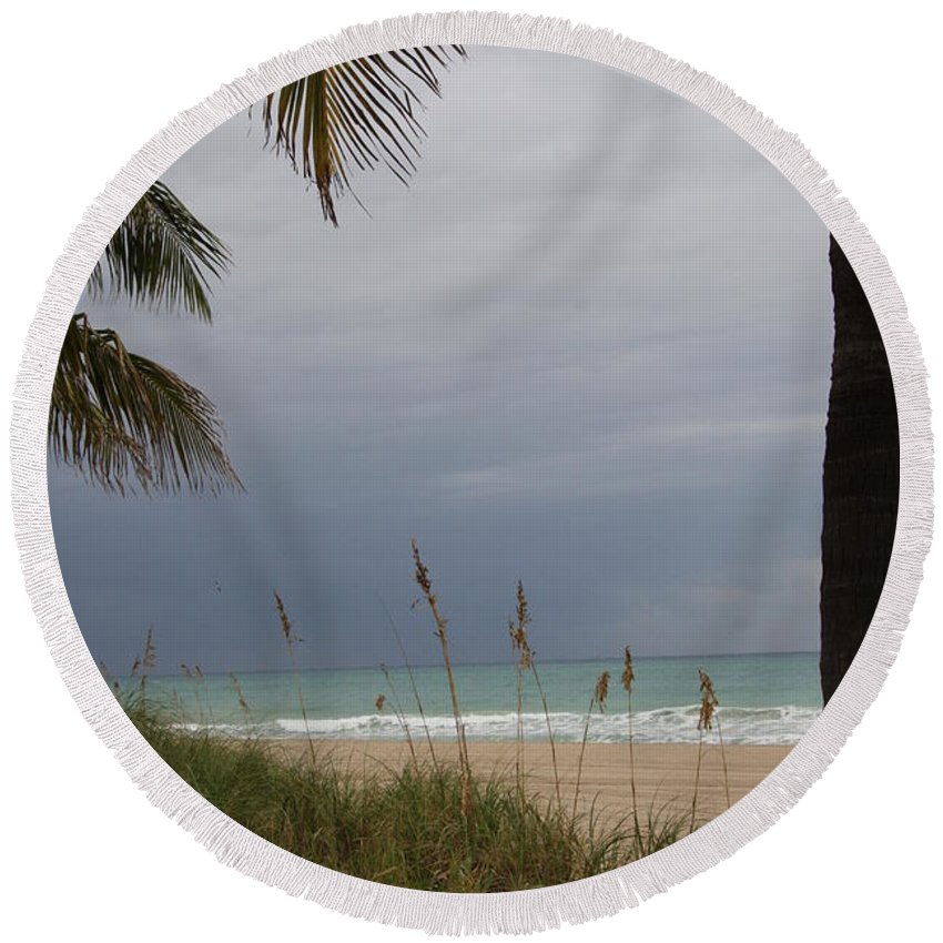 Beach Round Beach Towel featuring the photograph Thunderstorm Sky by Christiane Schulze Art And Photography
