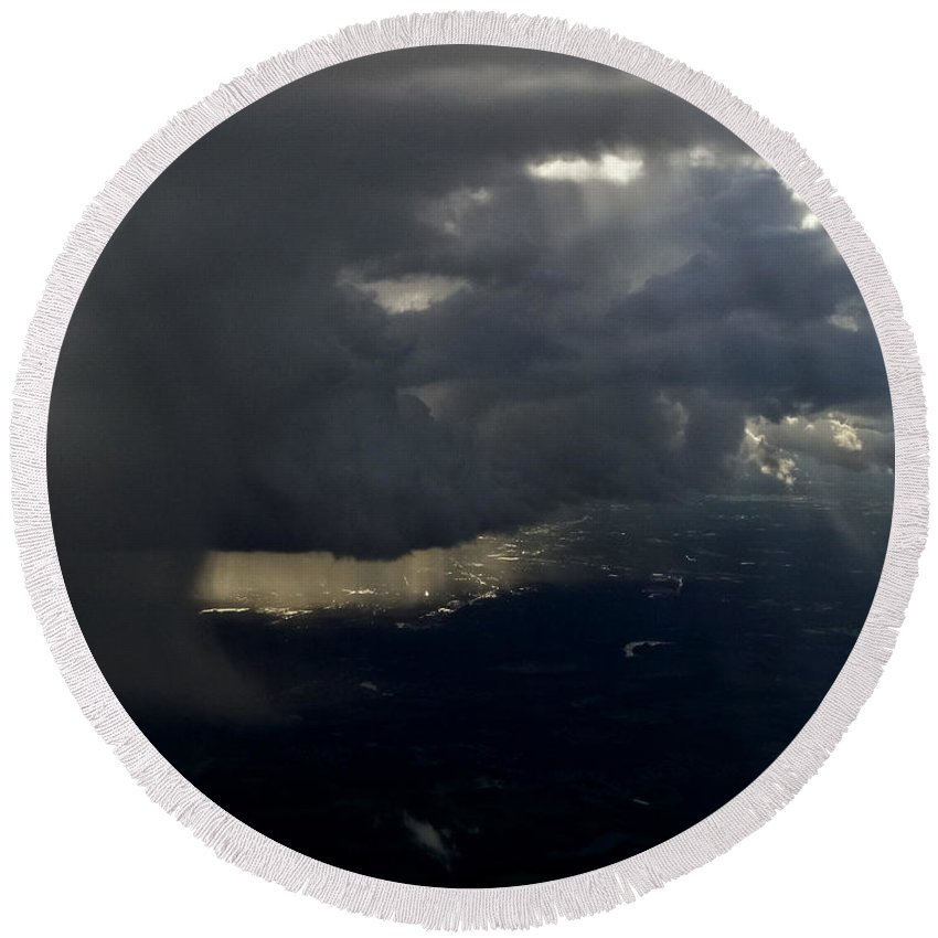 Thunderstorms Round Beach Towel featuring the photograph Thunderstorms And Rain Shafts II by Greg Reed