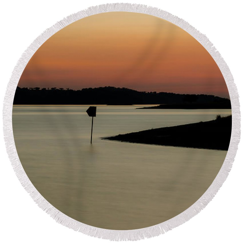 Lake Round Beach Towel featuring the photograph The Lake After Sunset by Alexandre Martins