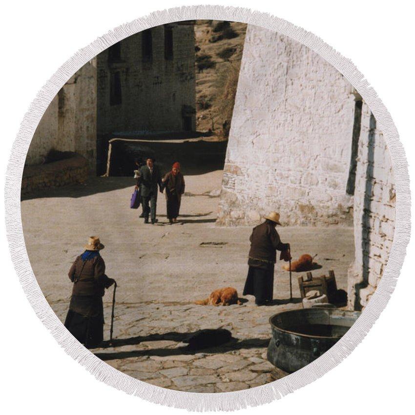 Tibet Round Beach Towel featuring the photograph Tibet 2x2x2 By Jrr by First Star Art