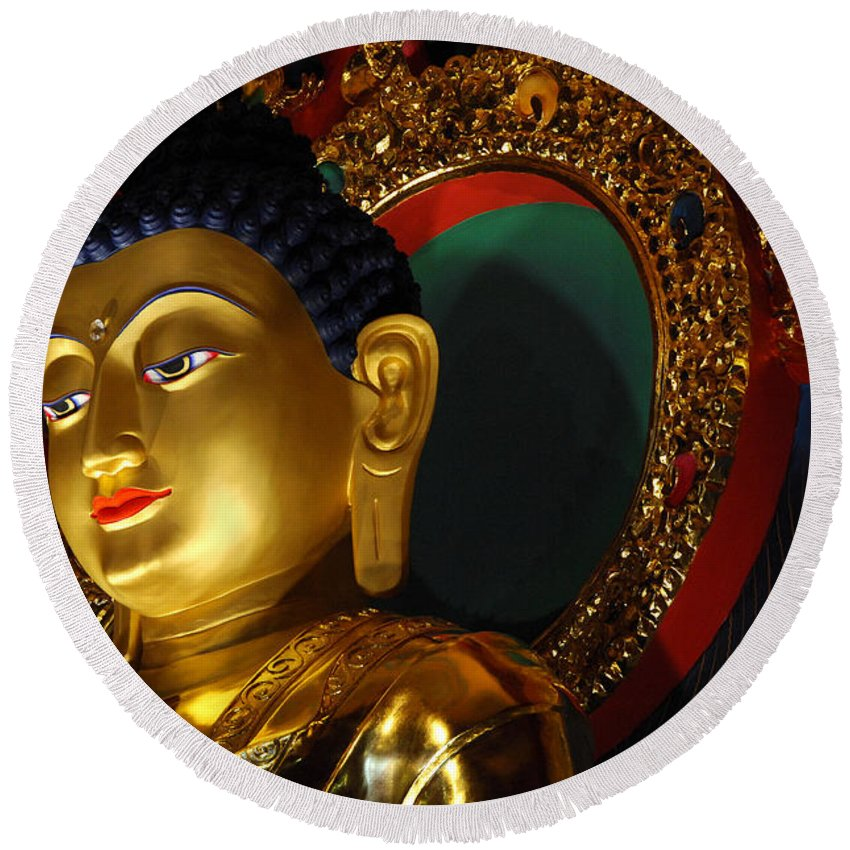 Buddha Round Beach Towel featuring the photograph Tibetan Buddha 8 by Bob Christopher