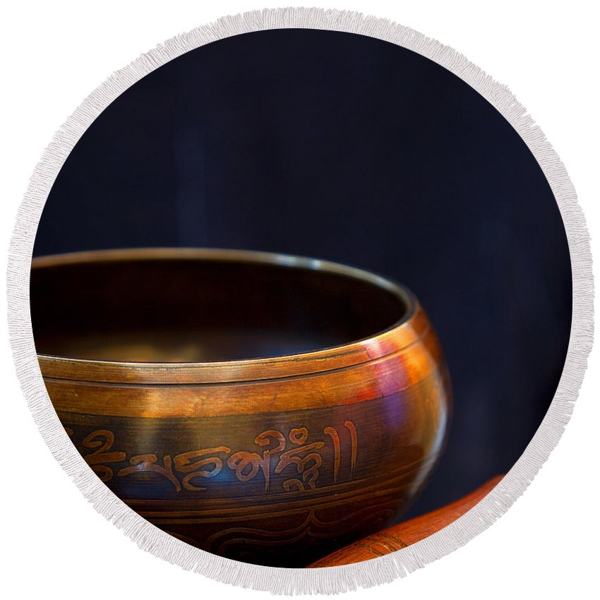 Tibet Round Beach Towel featuring the photograph Tibetan Singing Bowl by Theresa Tahara