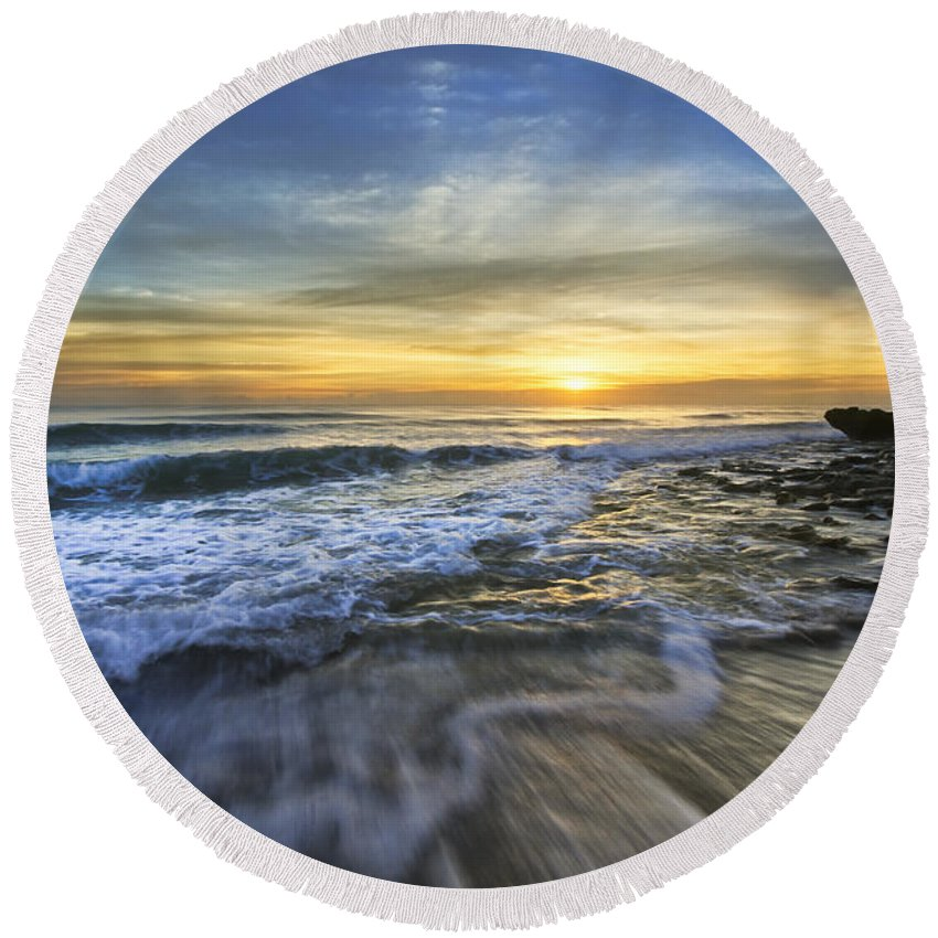Clouds Round Beach Towel featuring the photograph Tidal Waves by Debra and Dave Vanderlaan