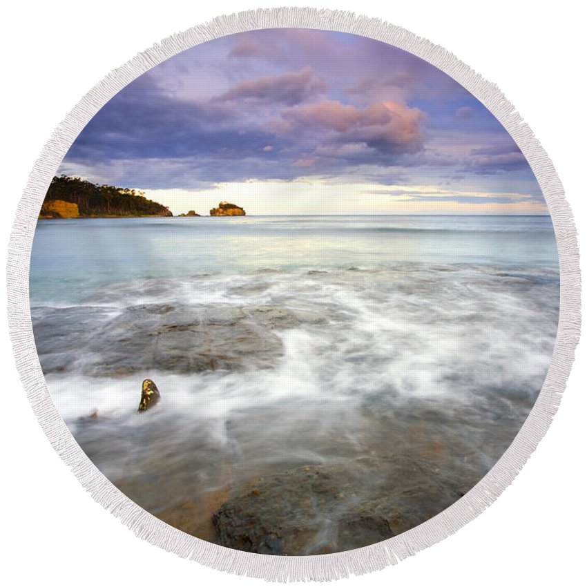 Tesselated Round Beach Towel featuring the photograph Tide Covered Pavement by Mike Dawson