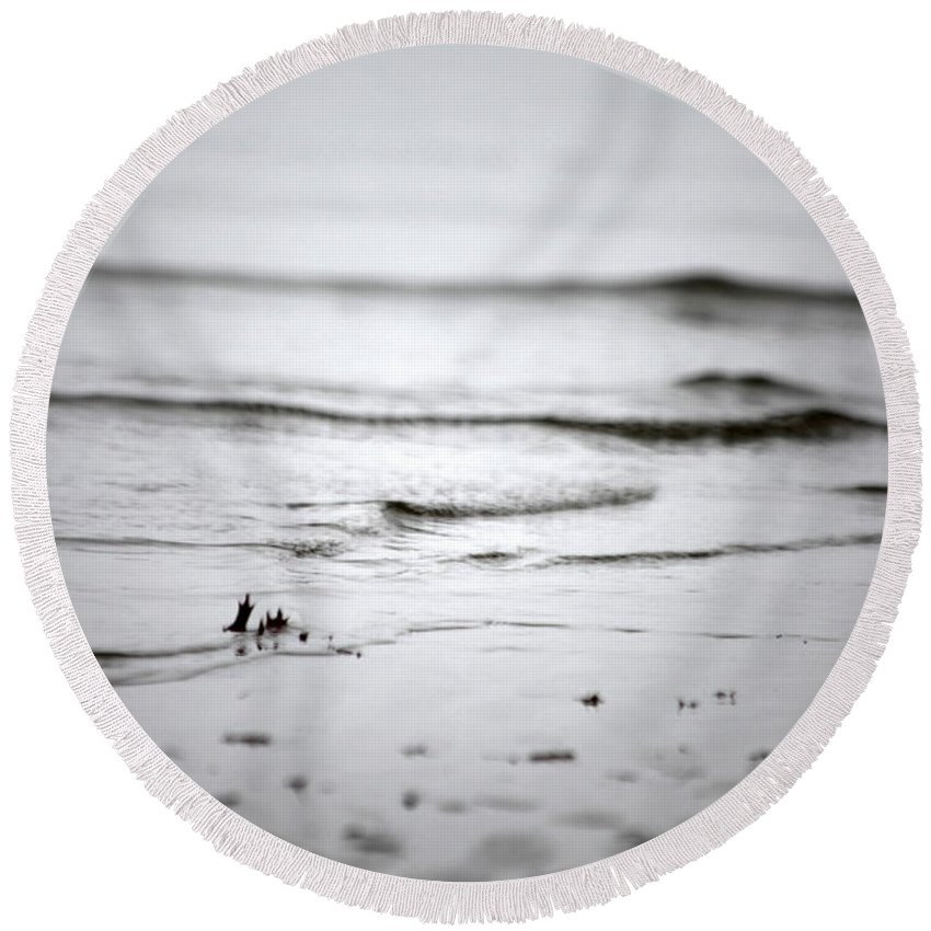 Coastal Round Beach Towel featuring the photograph Tide Rolling In by Karol Livote