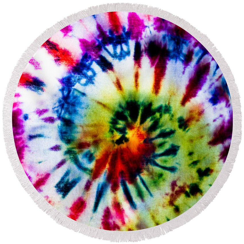 Tie Dye Round Beach Towel featuring the photograph Tie Dyed T-shirt by Cheryl Baxter