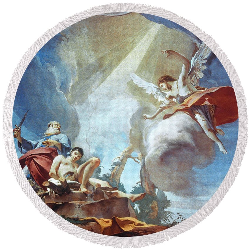 1726 Round Beach Towel featuring the painting Tiepolo Sacrifice Of Isaac by Granger