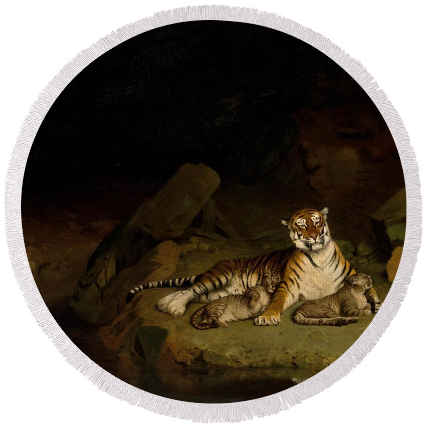 Jean-leon Gerome Round Beach Towel featuring the painting Tiger And Cubs by Jean-Leon Gerome