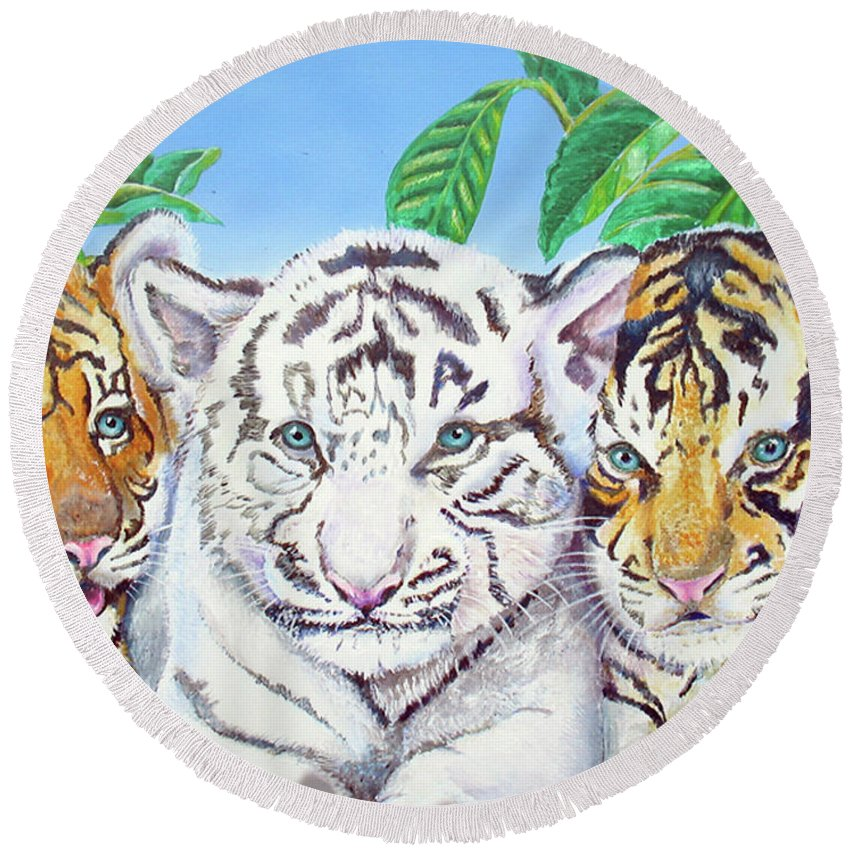 White Tiger Round Beach Towel featuring the painting Tiger Cubs by Thomas J Herring