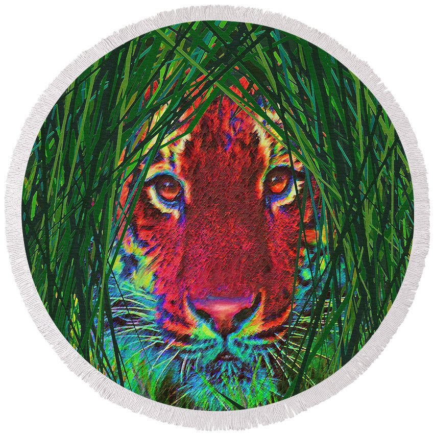 Tiger Round Beach Towel featuring the digital art Tiger In The Grass by Jane Schnetlage