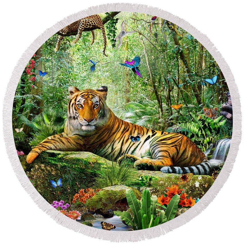 Tiger Jungle MICROFIBRE BEACH TOWEL Designer Multi-Coloured