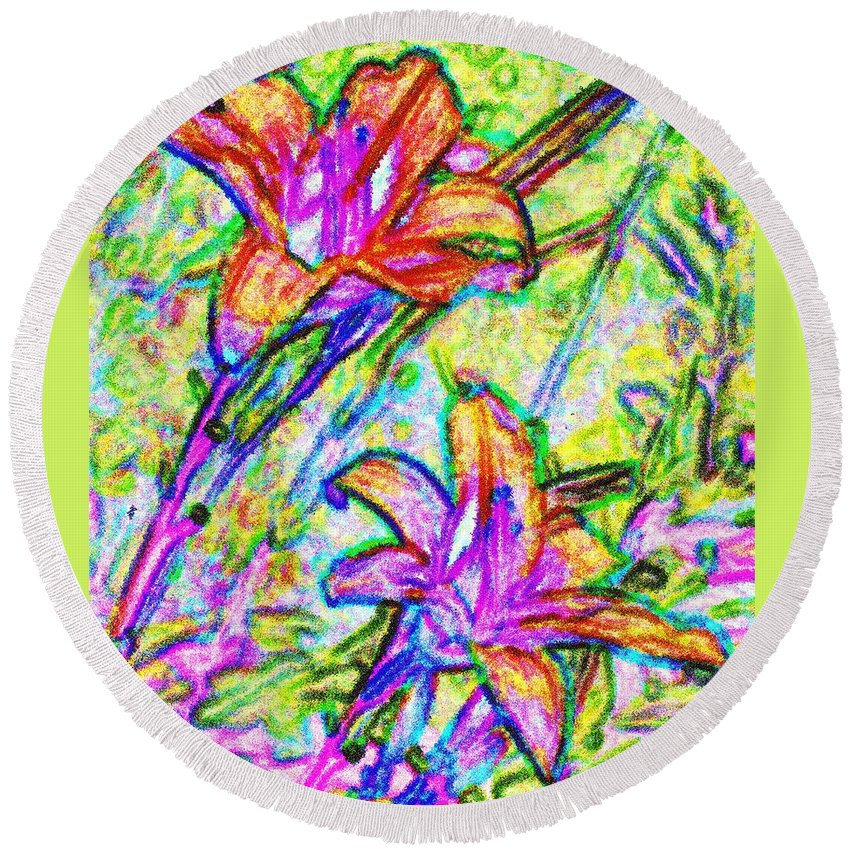 Tiger Round Beach Towel featuring the photograph Tiger Lillies by Ian MacDonald