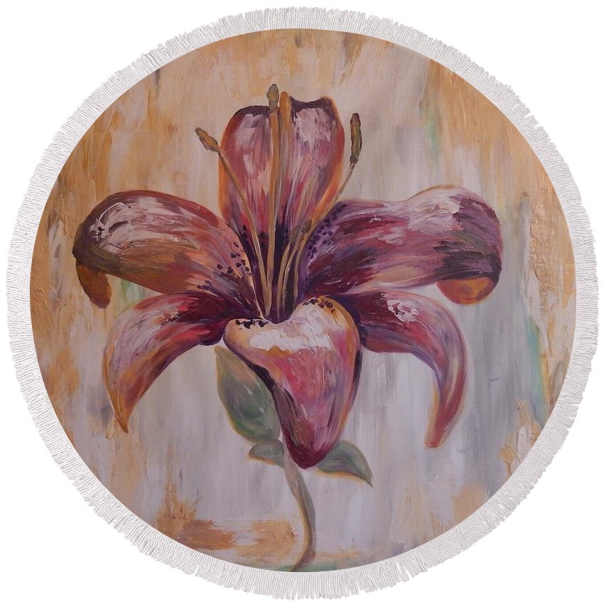 Tiger Lily Round Beach Towel featuring the painting Tiger Lily by Graciela Castro