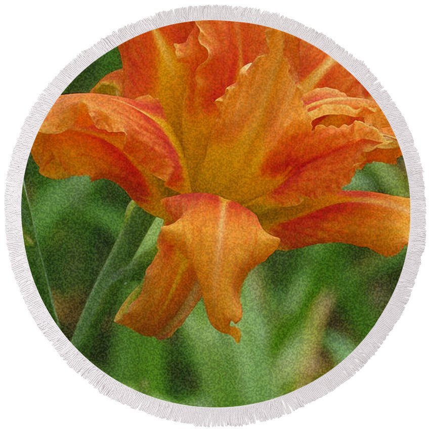 Tiger Lily Round Beach Towel featuring the photograph Tiger Lily by Kay Novy