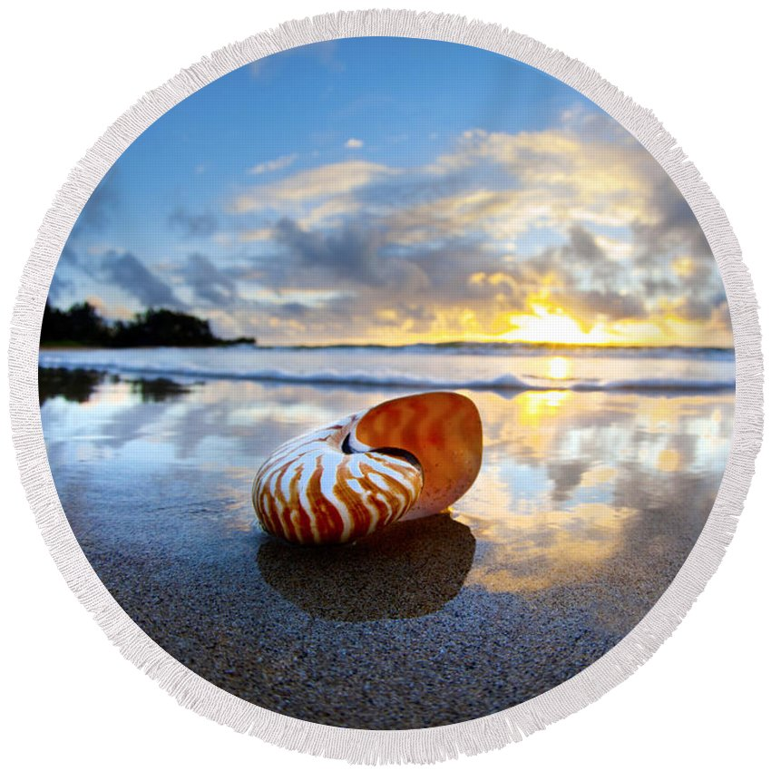 Beach Pictures Round Beach Towel featuring the photograph Tiger Nautilus Sunrise by Sean Davey
