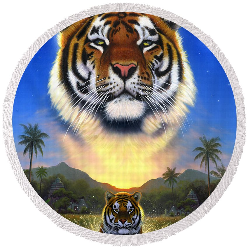 Animal Round Beach Towel featuring the photograph Tiger Of The Lake by MGL Meiklejohn Graphics Licensing
