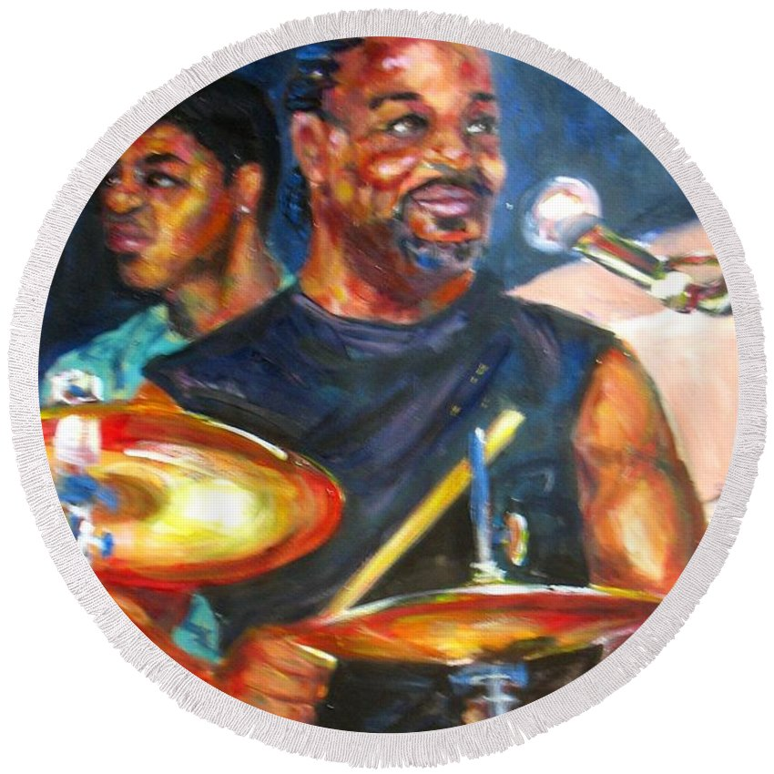 Drums Round Beach Towel featuring the painting Tiger On Drums by Beverly Boulet