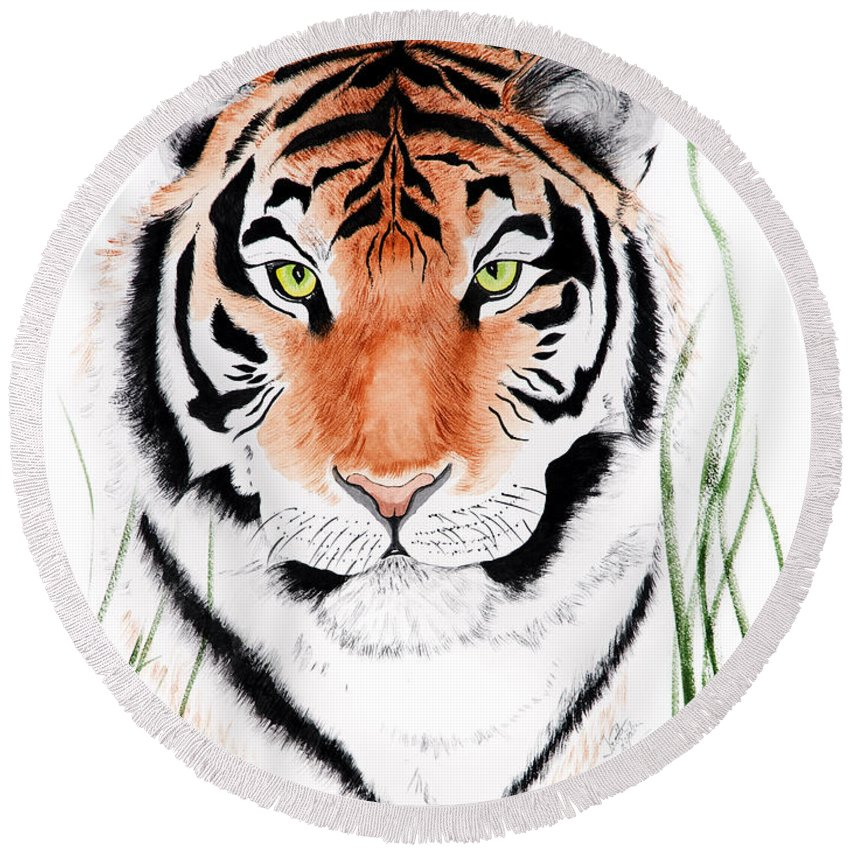 Tiger Round Beach Towel featuring the painting Tiger Tiger Where by Joette Snyder