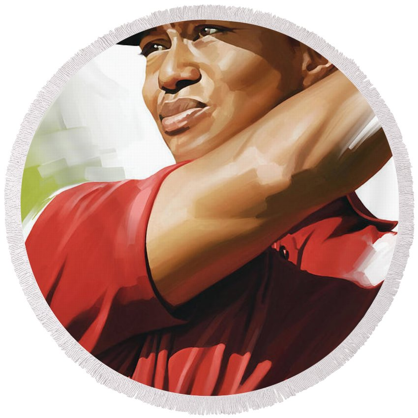 Tiger Woods Paintings Round Beach Towel featuring the mixed media Tiger Woods Artwork by Sheraz A