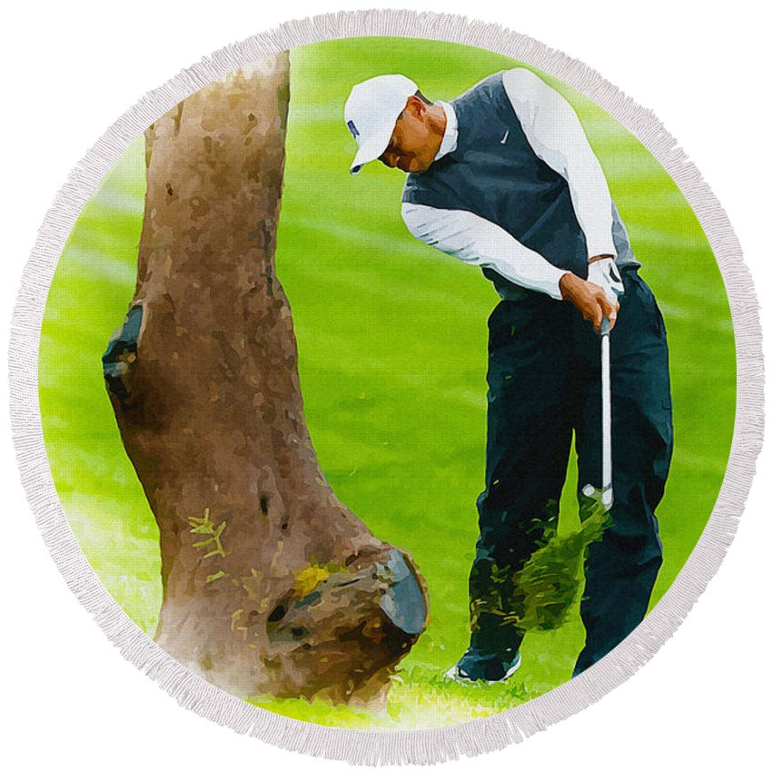 Canada Round Beach Towel featuring the digital art Tiger Woods Hits A Shot From The Rough by Don Kuing