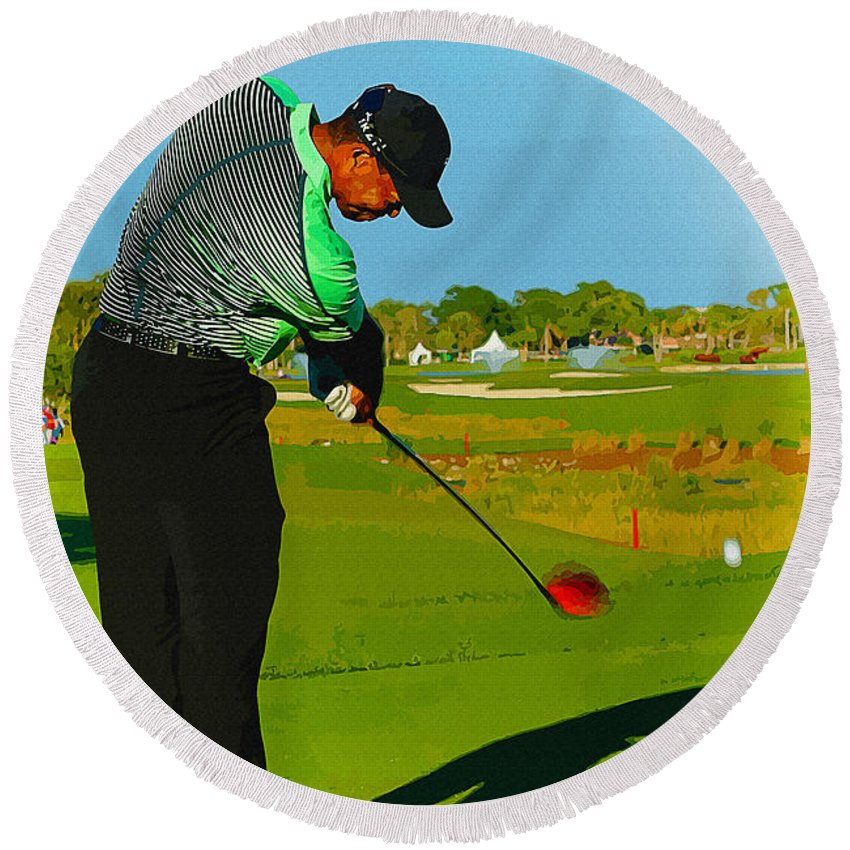 Canada Round Beach Towel featuring the digital art Tiger Woods - Second Round Of The Honda Classic by Don Kuing