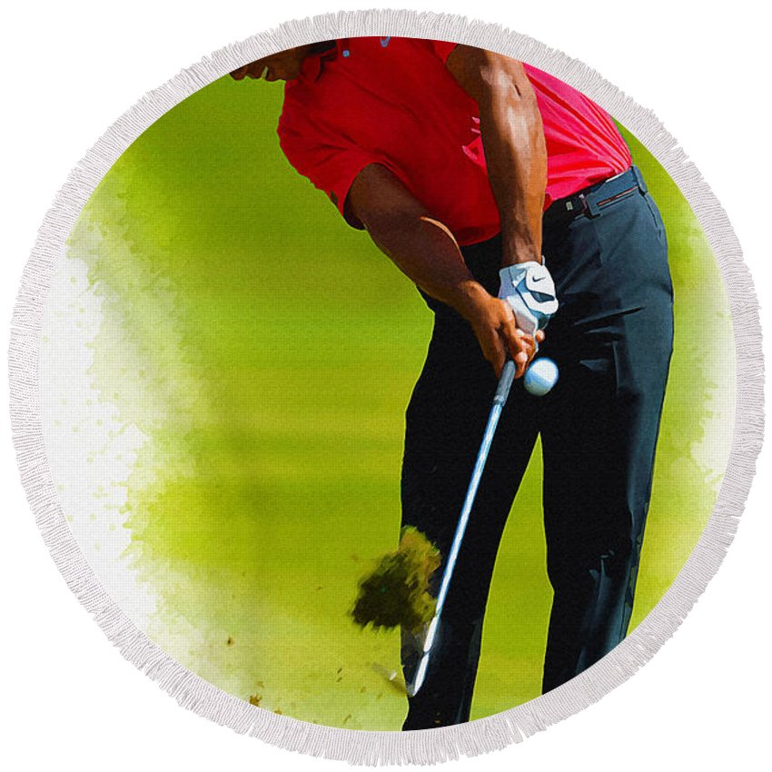 Canada Round Beach Towel featuring the digital art Tiger Woods - The Honda Classic by Don Kuing