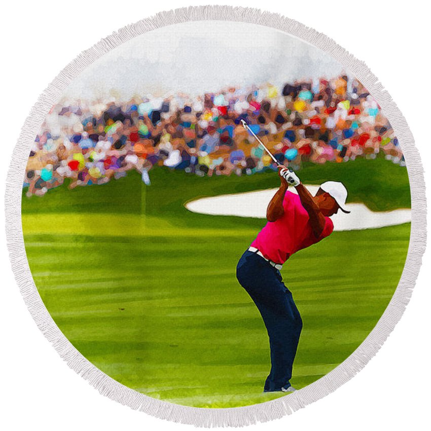 Canada Round Beach Towel featuring the digital art Tiger Woods - The Waste Management Phoenix Open by Don Kuing