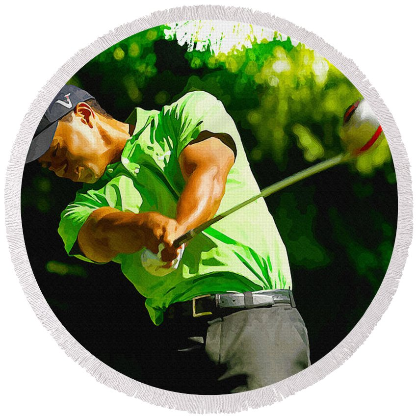 Canada Round Beach Towel featuring the digital art Tiger Woods - Wgc- Cadillac Championship by Don Kuing