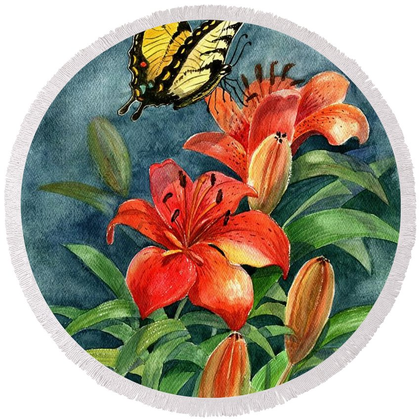 Butterflies Round Beach Towel featuring the painting Tigers by Marilyn Smith