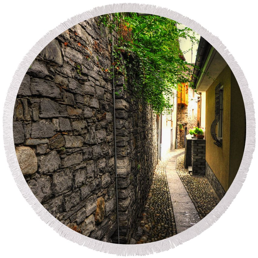 Alley Round Beach Towel featuring the photograph Tight Alley In Stone by Mats Silvan