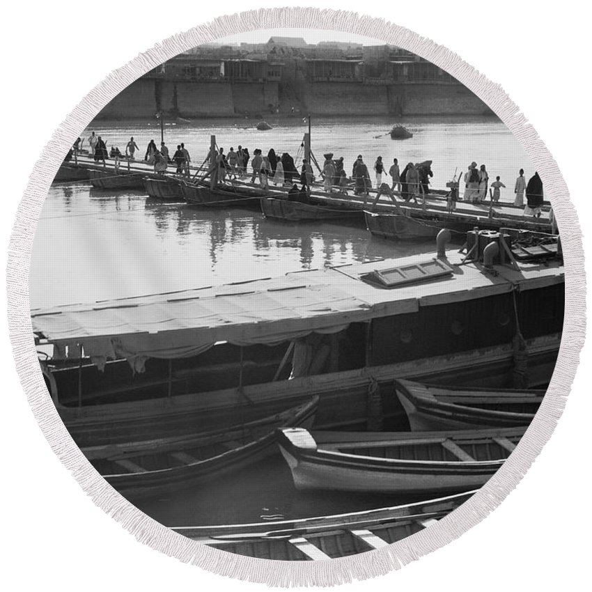 1930s Round Beach Towel featuring the photograph Tigris River Bridge by Underwood Archives