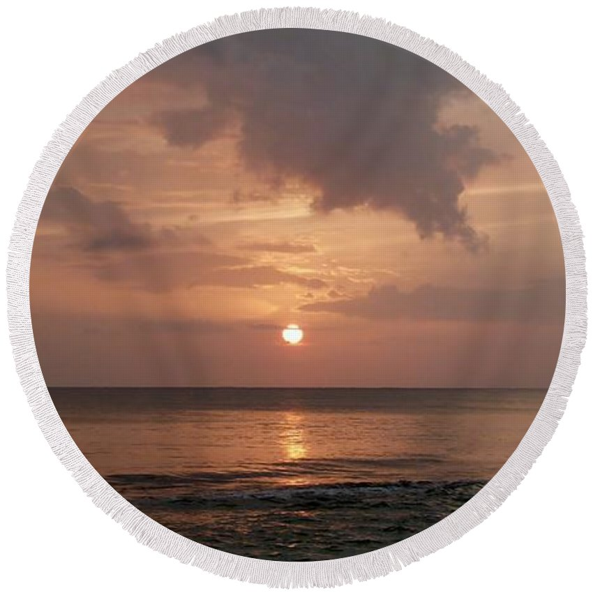 Glorious Sunset Round Beach Towel featuring the photograph Tiki Sunset 2 by Amar Sheow