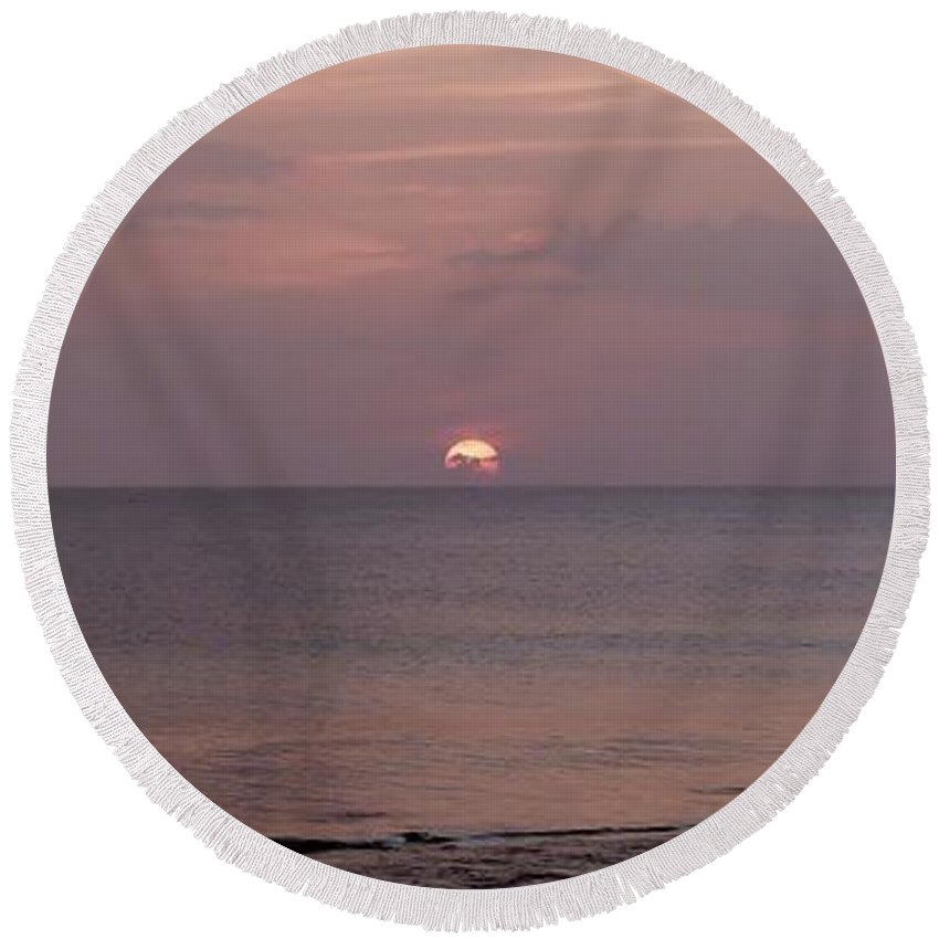 Glorious Sunset Round Beach Towel featuring the photograph Tiki Sunset 3 by Amar Sheow