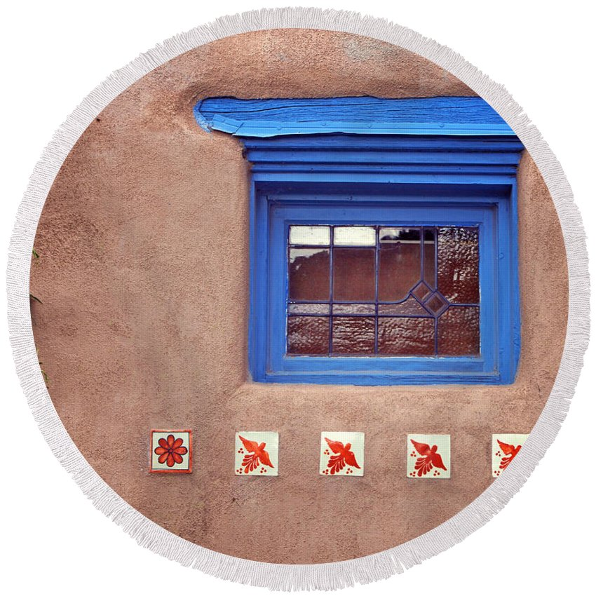 Window Round Beach Towel featuring the photograph Tiles Below Window by Nikolyn McDonald