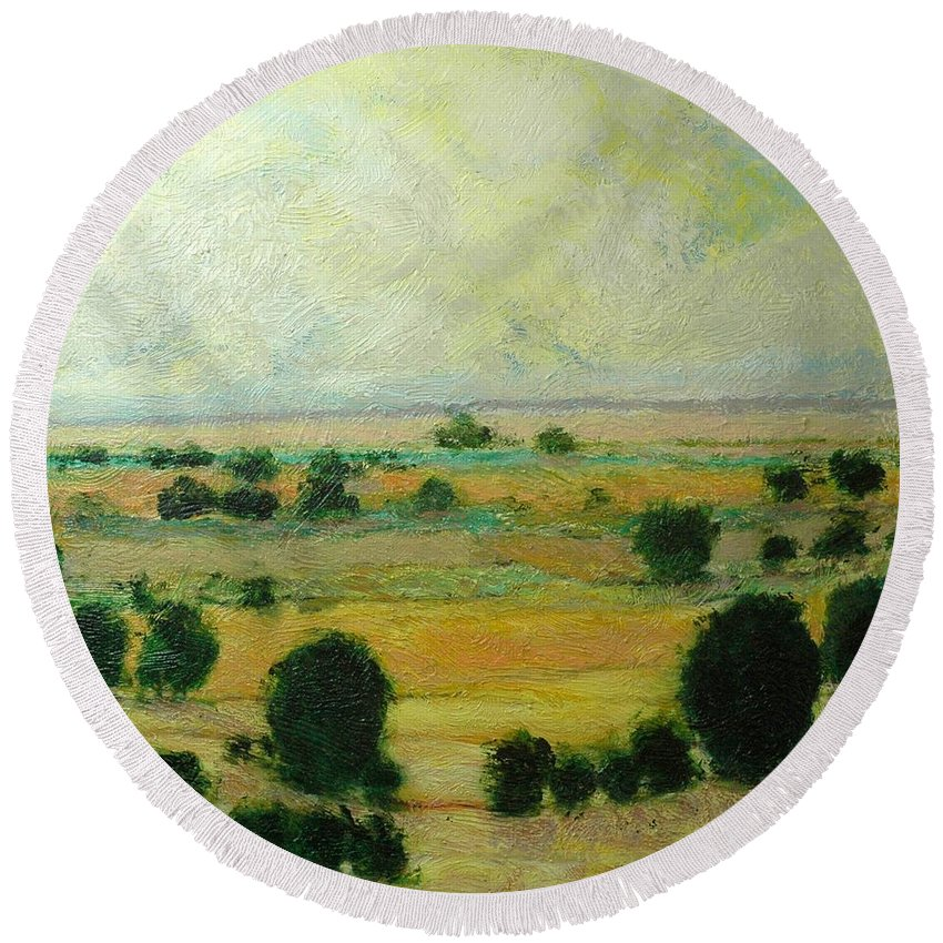 Landscape Round Beach Towel featuring the painting Till The Clouds Rolls By by Allan P Friedlander