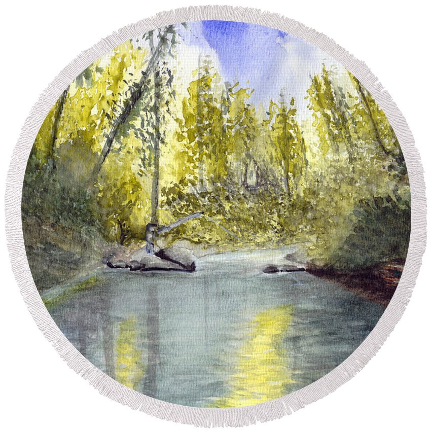 Wilson River Round Beach Towel featuring the painting Tillamook Fishing by Chriss Pagani