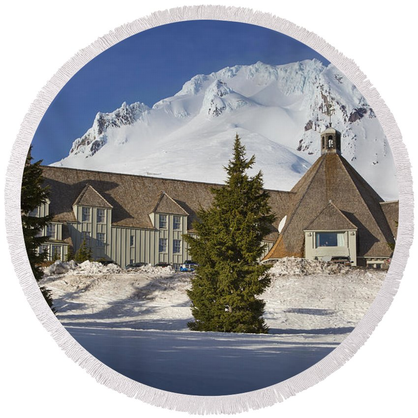 America Round Beach Towel featuring the photograph Timberline Lodge by Brian Jannsen