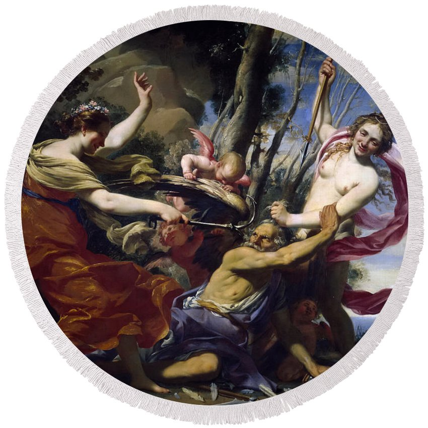 Simon Vouet Round Beach Towel featuring the painting Time Defeated By Hope Love And Beauty by Simon Vouet
