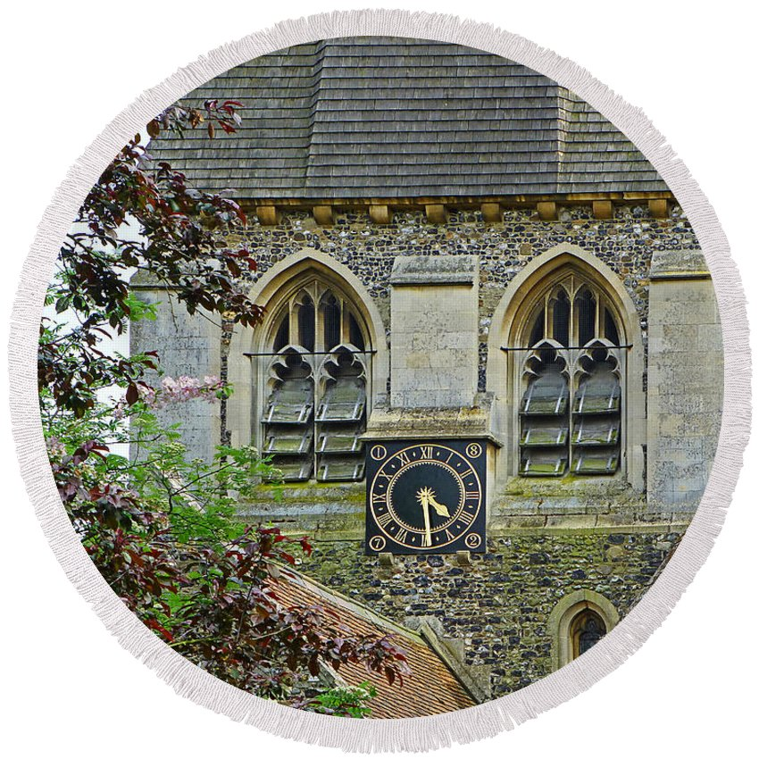 Church Round Beach Towel featuring the photograph Time For Church by Gill Billington