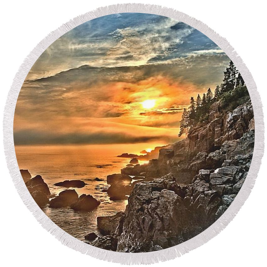 Bass Harbor Lighthouse Round Beach Towel featuring the photograph Time For Work by Adam Jewell