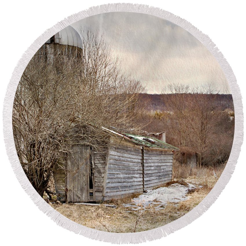 Barn Round Beach Towel featuring the photograph Time Gone By by A New Focus Photography