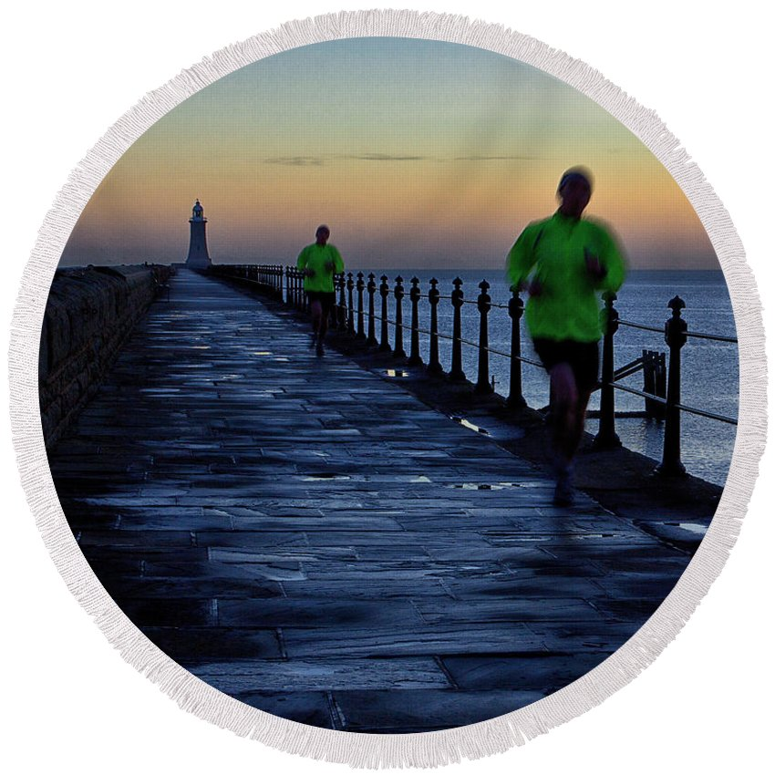 Tynemouth Round Beach Towel featuring the photograph Time Lapse Runner by David Pringle