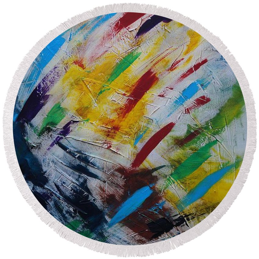Abstract Round Beach Towel featuring the painting Time stands still by Sergey Bezhinets