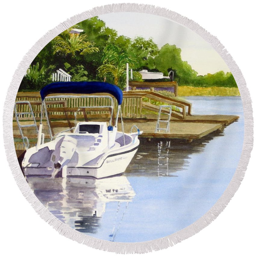 Boat Round Beach Towel featuring the painting Time To Cruise by Julia RIETZ