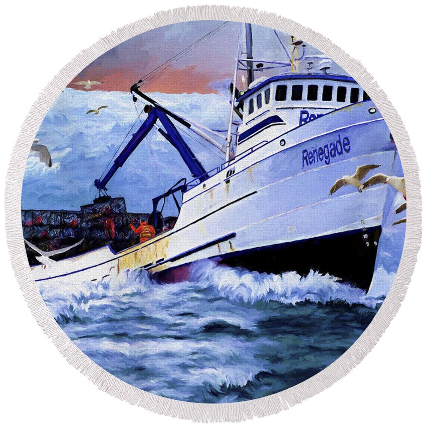 Alaskan King Crabber Round Beach Towel featuring the painting Time To Go Home by David Wagner