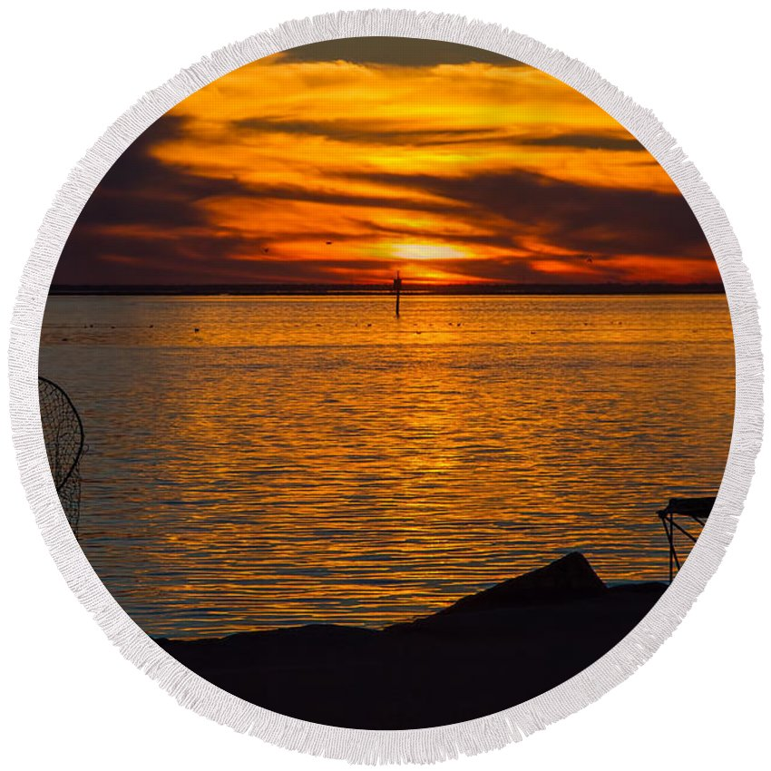 Time To Pack It In Round Beach Towel featuring the photograph Time To Pack It In by Gary Holmes
